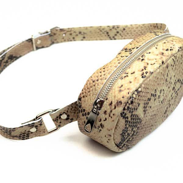 Δερμάτινο τσαντάκι μέσης Snake beige