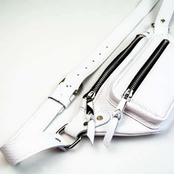 Δερμάτινο λευκό τσαντάκι μέσης Partner white