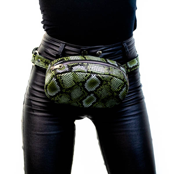 Δερμάτινο τσαντάκι μέσης Snake army green