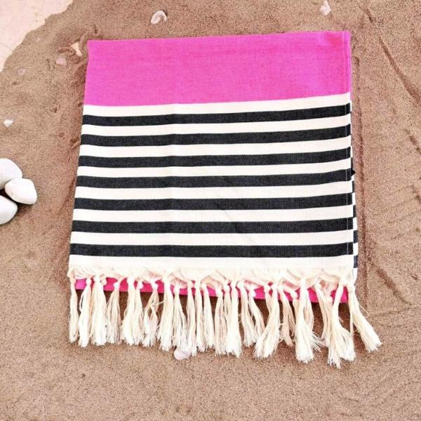 Πετσέτα Θαλάσσης 100% Βαμβακερή 'Navy' Pink