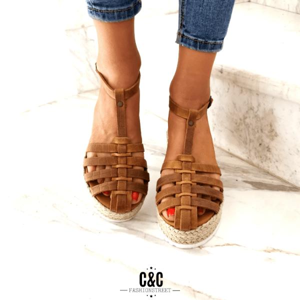 Leather Espadrilles 'Catwalk' Brown Crocus