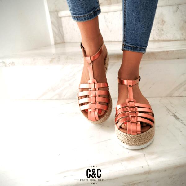 Δερμάτινη σανδάλι Πλατφόρμα ' Catwalk ' metallic Pink