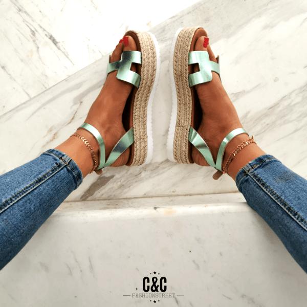 Leather platform sandal 'turquoise