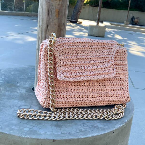 Πλεκτή τσάντα ώμου-χιαστί Pink