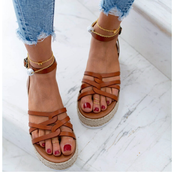 """Leather Sandal Platform brown """"Hold Me"""""""