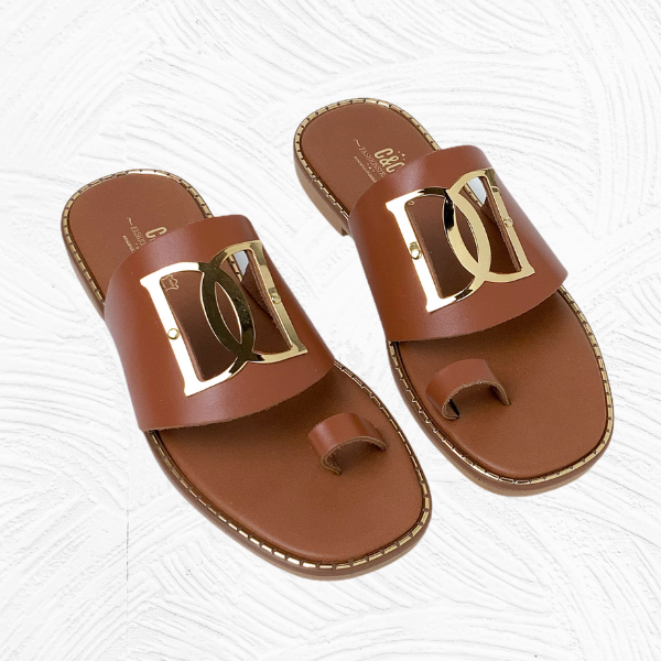 Handmade leather flat sandal with buckle
