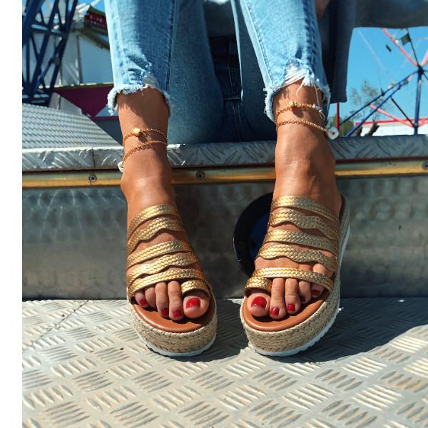 'Waves' Gold Platform Leather Sandal
