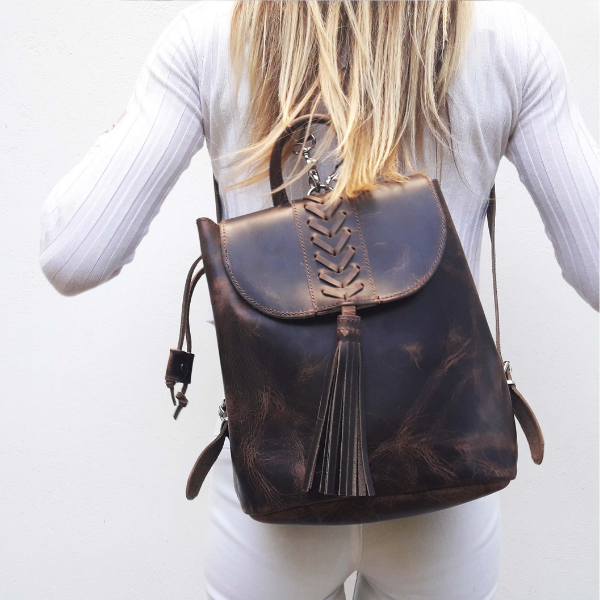 Δερμάτινη καφέ τσάντα πλάτης ' Boho '